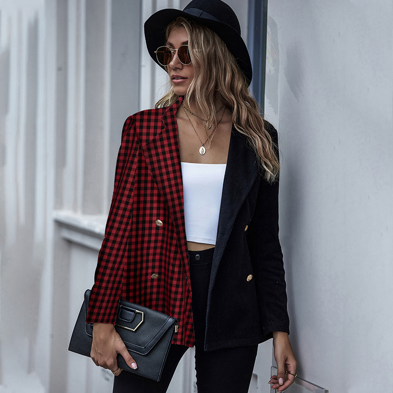 Vintage Patchwork Plaid Blazer Women's Jacket 2020 Spring Autumn Office blazer feminino Casual Single Breasted Chic Suit Coat
