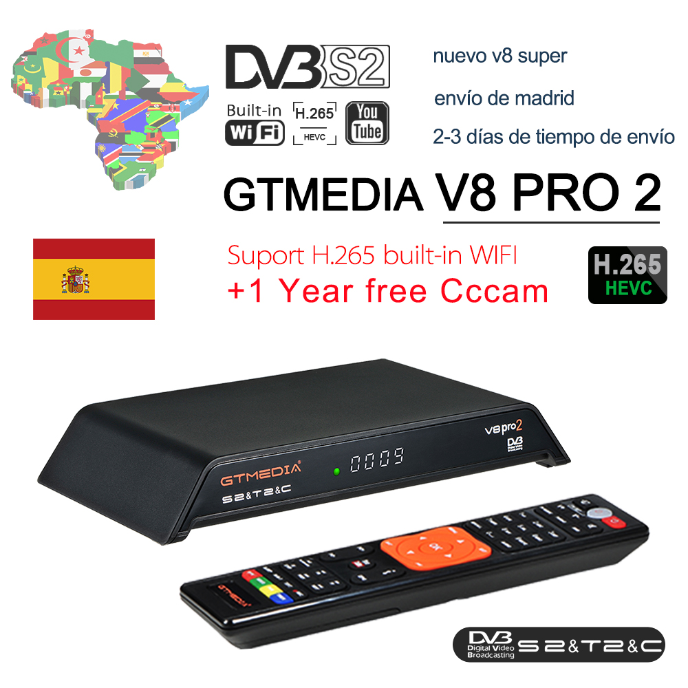 New GTmedia V8 Pro2 Satellite TV Receiver Freesat V8 Super Updated GTmedia V8 Nova with Europe Cline for 1 Year Spain Portugal