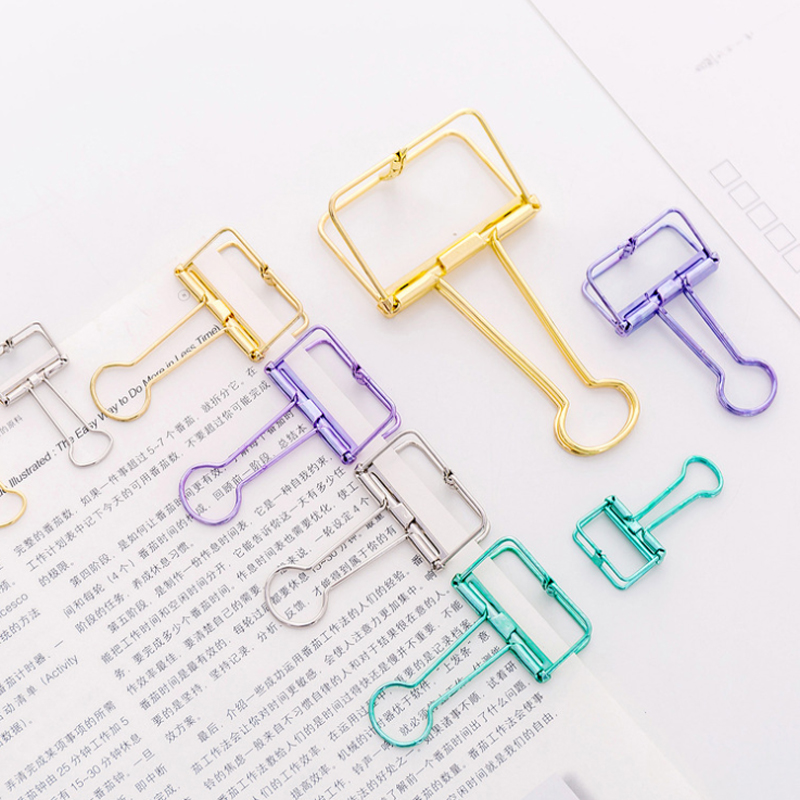 1pcs/lot Colorful Folder Metal Clips Classification Paper Clips Food Packaging Clip Bookmark