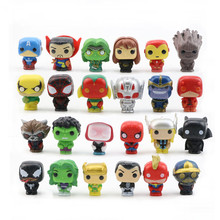 цена на 6/8/12/24/26pcs Kids Toys The Avengers Marvel Superheros PVC Mini Action Figure Spiderman Captain Q Version Hulk Superman