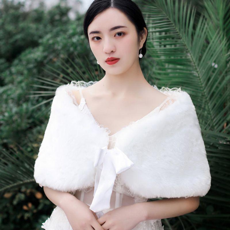 Fashion Women/'s Lady Wedding Bridal White Plush Shrug Shawl Warm Wrap Stole Cape