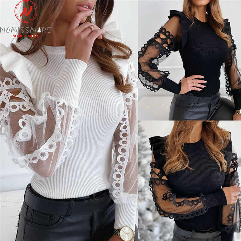 Mode Vrouwen Lente Herfst T-shirts Mesh Patchwork Ontwerp Lace Ruches Decor See Through O-hals Lange Mouwen Effen Truien Top