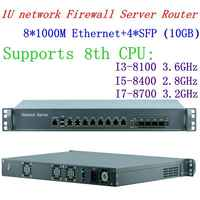 1U 8*1000M lan con 4 SFP Intel i7 4770 de 3,5 Ghz de red Firewall Router sistema 8G RAM 64G SSD Mikrotik PFSense ROS Wayos