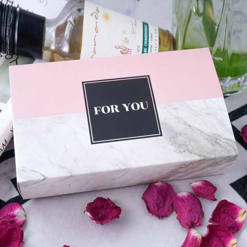 Creative Marbled Gift Box Cookies Tote Bags Wedding Chocolate Cake Packing Paper Boxes Party Supplies Pink Larger