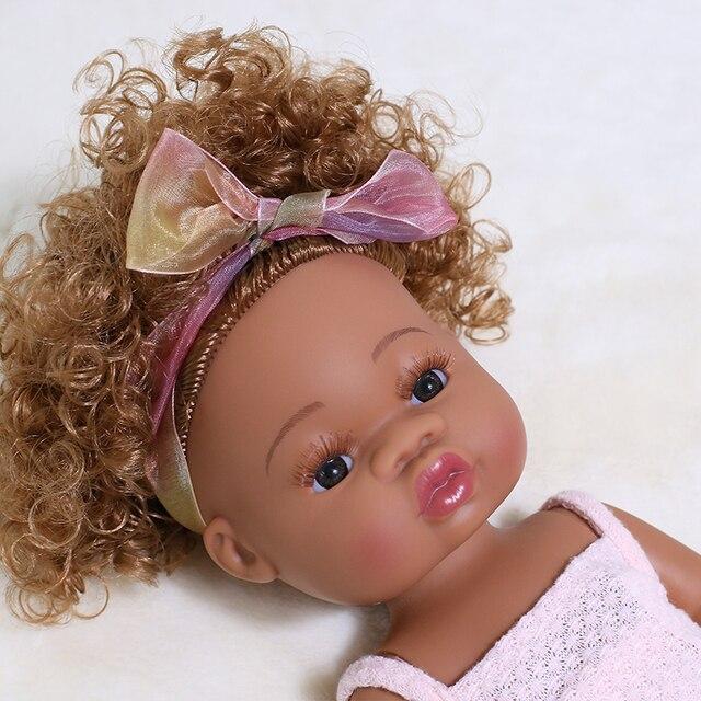 35CM American Reborn Black Baby Doll Bath Play Full Silicone Vinyl Baby Dolls Lifelike Newborn Baby Doll Toy Girl Christmas Gift 3