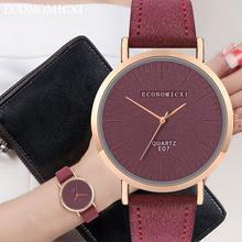 ECONOMICXI Watches Women Fashion Leather Band Analog Quartz Square Quartz Wrist