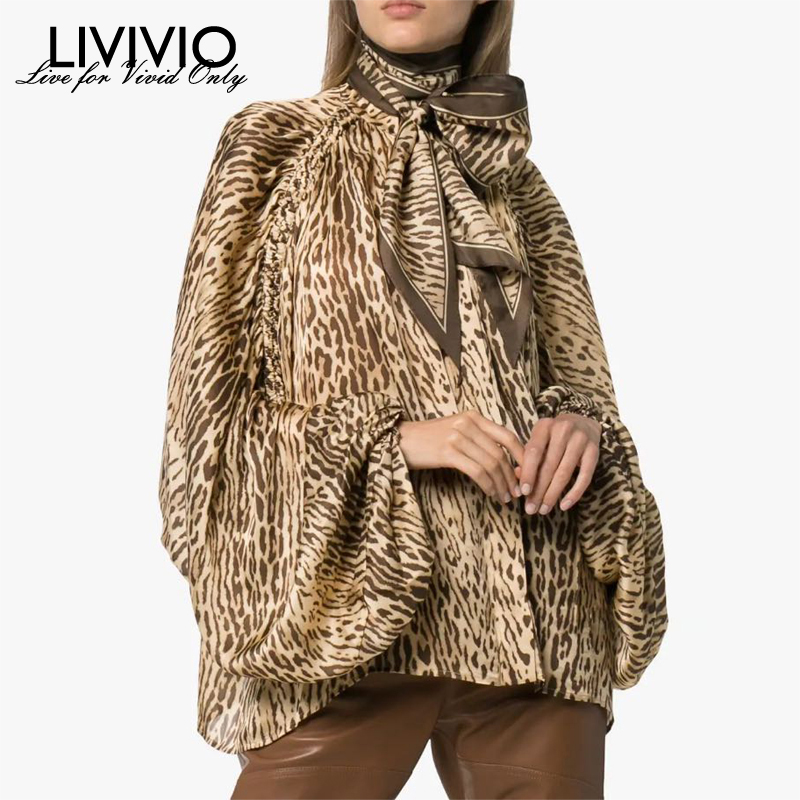 [LIVIVIO] Leopard Bow Tie Turtlneck Lantern Long Sleeve Office Lady Blouse Women Tops Female Shirt Fashion Clothing New