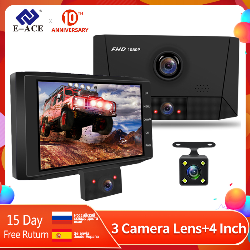 E-ACE Автомобильный видеорегистратор 3 камеры s объектив тире камера 4,0 дюймов авто регистратор двойной объектив с камерой заднего вида видео ...