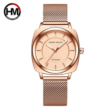 Luxury Rose Gold Women Square Watch Top Brand Japan Quartz Movement Stainless Steel Watch Women Simple Waterproof Wristwatches fashion women wrist watch marble surface stainless steel band quartz movement rose gold simple ladies fashion dress wristwatches