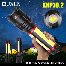Multifunction XHP70.2 LED Flashlight with 4 COB Side Light Built-in 5000mAh Battery 5 Lighting Mode Waterproof Zoom Camping Lamp