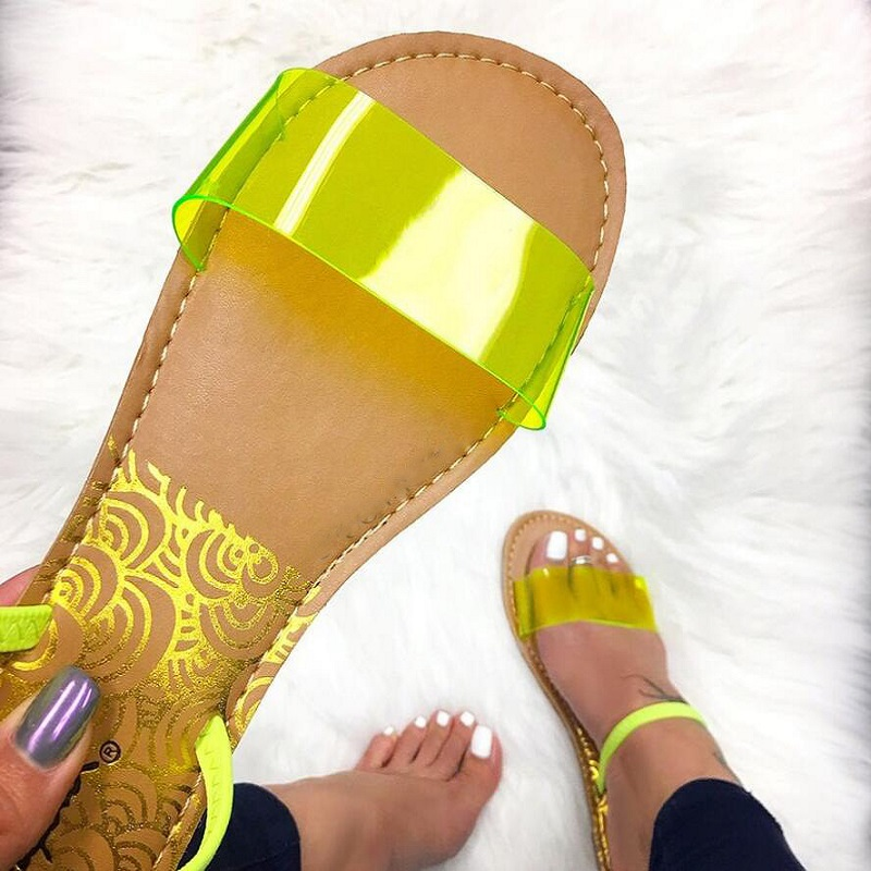 2019 Women Fashion Slipopers Summer Women <font><b>Sandals</b></font> Slip-On Jelly Shoes Cut Out Ladies <font><b>Flat</b></font> <font><b>Sandals</b></font> Outdoor Holiday Slides BK002 image