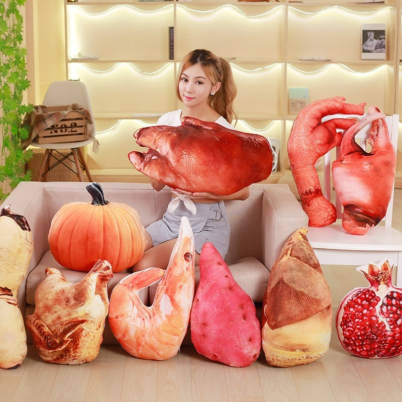 Creative Simulation Roast Chicken Plush Pillow Toy 3D Print  Trotter Lobster Funny Office Home Backrest Waist Plush Cushion Doll