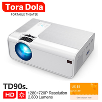 Tora Dola Мини проектор 3D домашний кинотеатр, LED проектор, HDMI видео проектор Поддержка 1920x1080P Full HD проектор | TD90/T90s