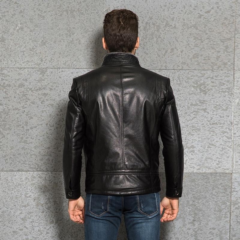 2020 New Genuine Leather Jacket Men Winter Goatskin Leather Coat Sheep Shearing Men's Leather Jackets 3367 KJ3006