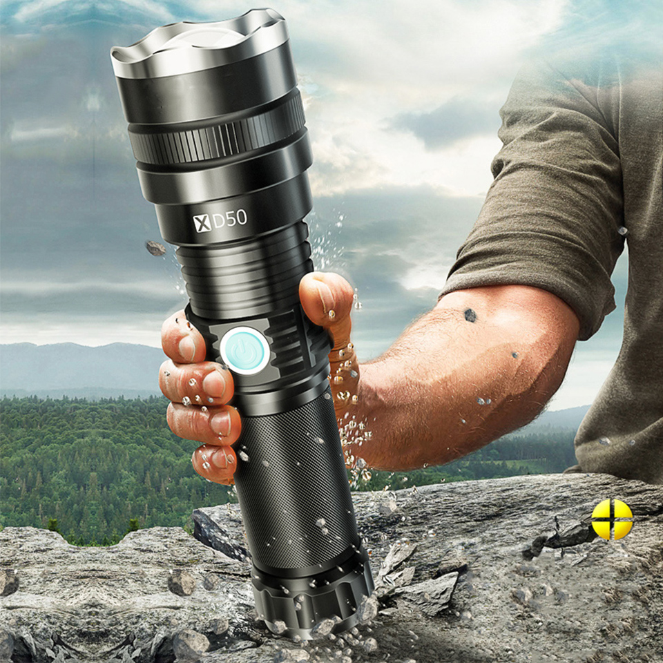 YC50 Xhp70.2 Super Powerful LED Flashlight XHP70 XHP50 Tactical Torch USB Rechargeable Waterproof Lamp Ultra Bright Lantern