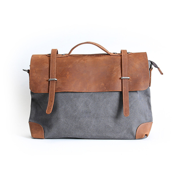 Hot Outdoor Leisure Customized Casual Bag High Capacity Canvas Simple Genuine Leather Shoulder bag Diagonal Package For
