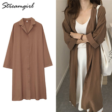 Dress Trench-Coat Women's Long-Sleeve Autumn Streamgirl for Loose