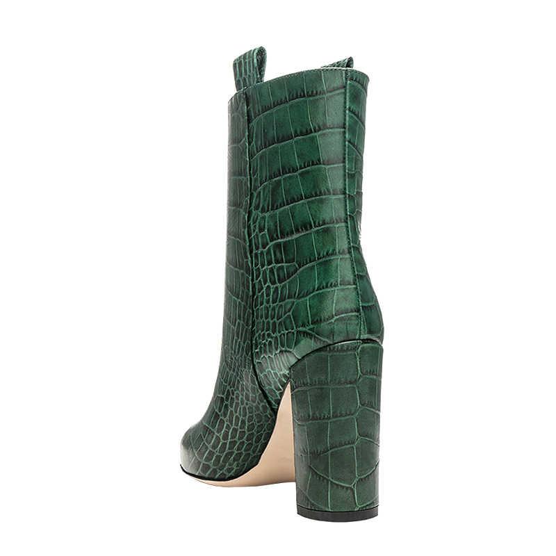 Kemekiss Korte Laarzen Vrouwen Plus Size 35-48 Winter Hoge Hakken Enkellaars Mode Steen Patroon Wees Teen Toevallige schoenen Vrouwen