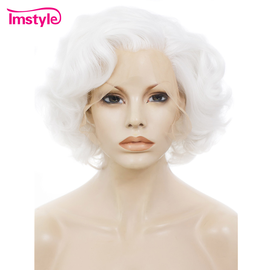 Imstyle White Lace Front Wigs Synthetic Hair For Women Short Wig Heat Resistant Fiber Natural Wavy 10 Inch Cosplay Part Wig
