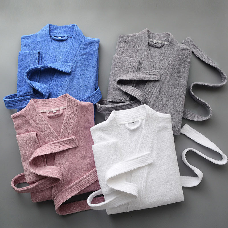 Hotel Pure Cotton Bathrobe Autumn Thick Towel Material Absorbent Couple Nightgown New Kimono Collar Home Service Pijama Mujer