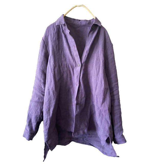Women linen Spring Autumn Solid COlor Simple Blouse shirt Tops Ladies Vintage Irregular Length Flax Shirt Tops 2020 4