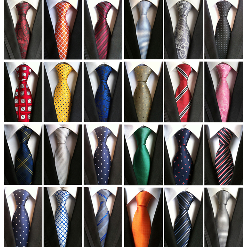 Corbatas Para Hombre Luxury Necktie Mens Tie For Wedding Striped 8 Cm Blue Jacquard Woven 100% Silk Polka Dots Neck Ties