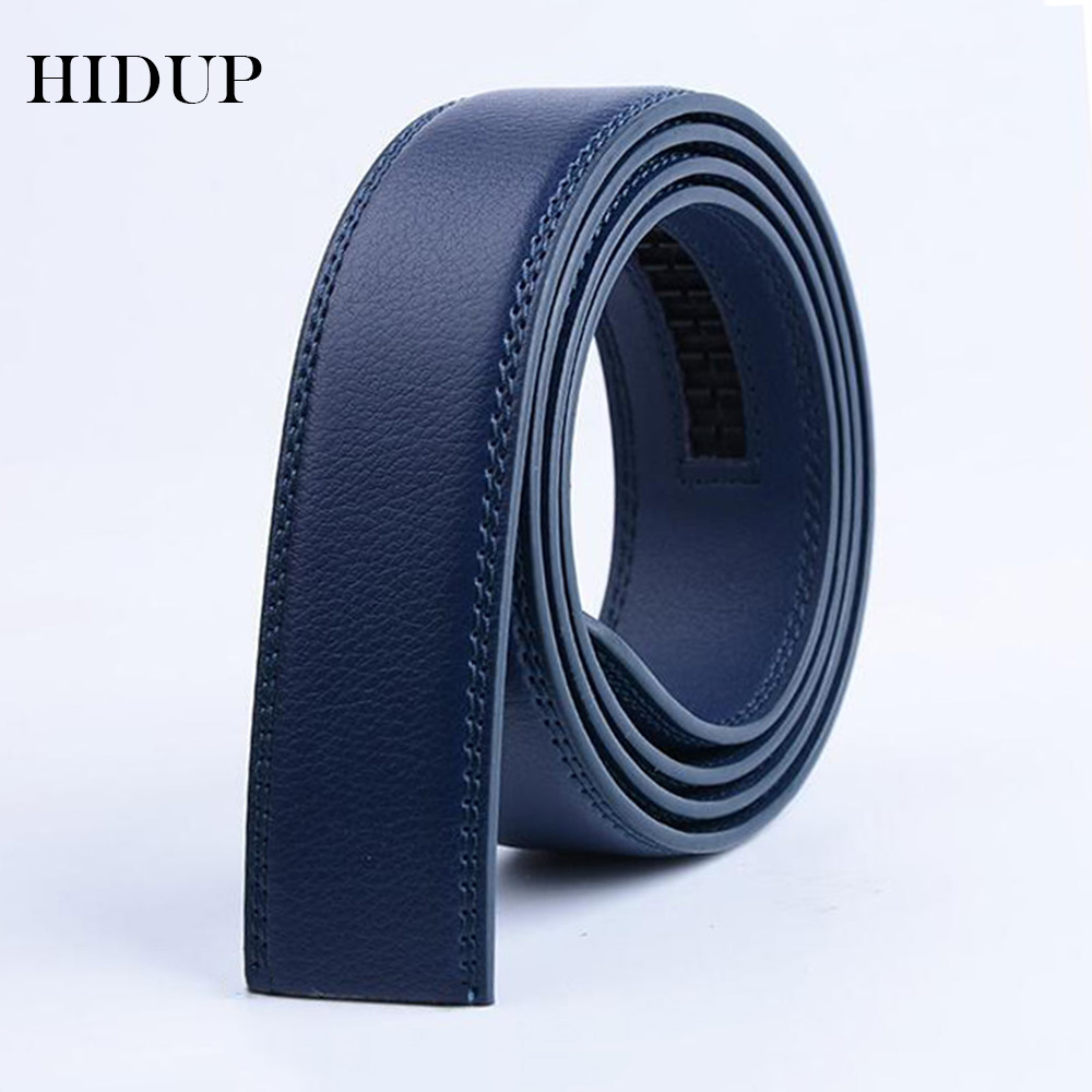 HIDUP Good Quality Real Genuine Leather Automatic Model Belts For Men Blue Colours Strap Belt 3.5cm Width Without Buckles LUWJ17