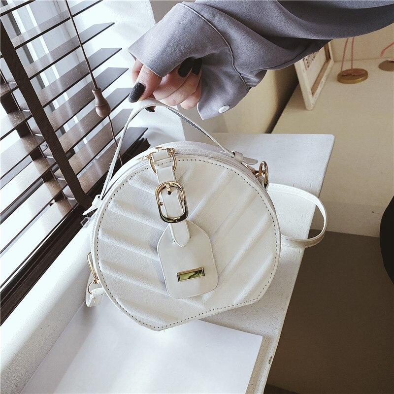 Fashion Soft Women's Handbag Casual Simple Messenger Bag Leaf Pattern Trendy Round Bag PU Cute Lady Shoulder Bag