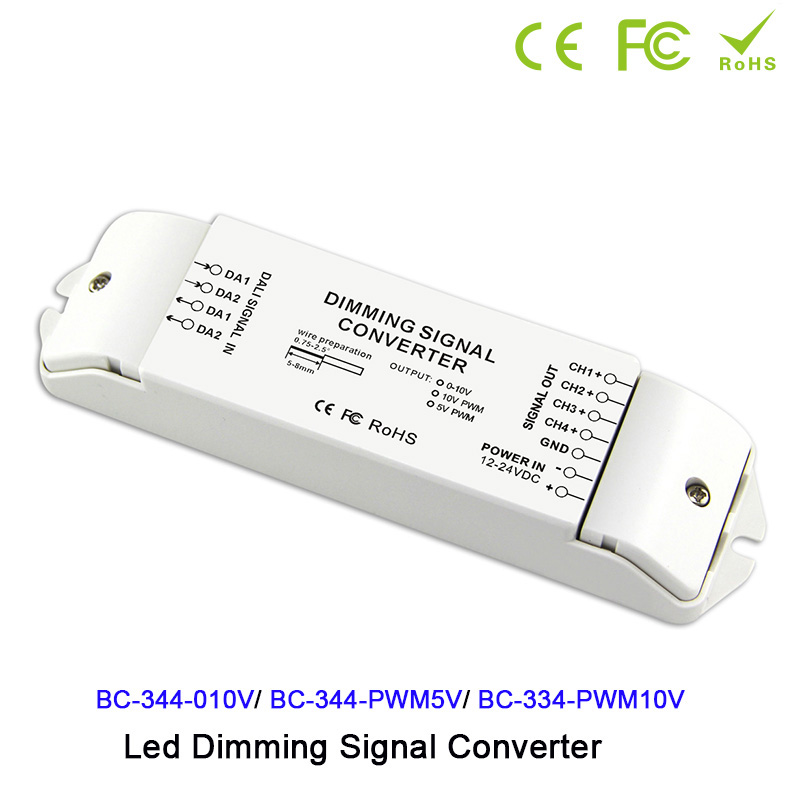 BC 344 DC12V 24V 4 CH DALI to 0 10v/PWM5V/PWM10V signal converter DALI led driver controller for led lamp light|Dimmers| |  - title=
