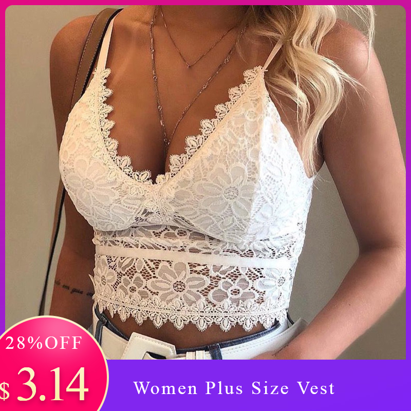 Women Plus Sizes-3xl  Vest Crop Wireless Bra Lingerie Sexy V-Neck Underwear Camisole
