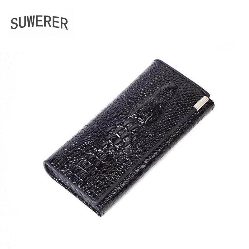 SUWERER 2020 New Genuine Leather Women Wallet Fashion Real Cowhide Crocodile Pattern Women Bag Famous Brand Leather Wallet