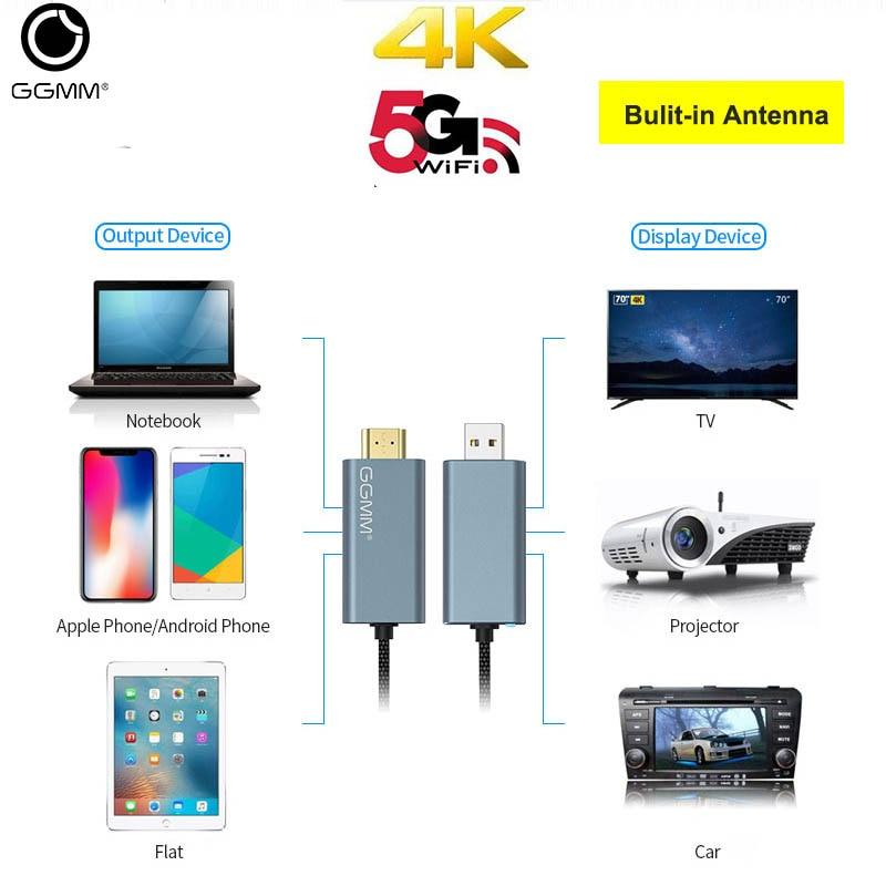 Ggmm atualizado tv vara dupla banda 5g sem fio display dongle 4 k hd sem fio hdmi wifi usb adaptador receptor miracast airplay dlan