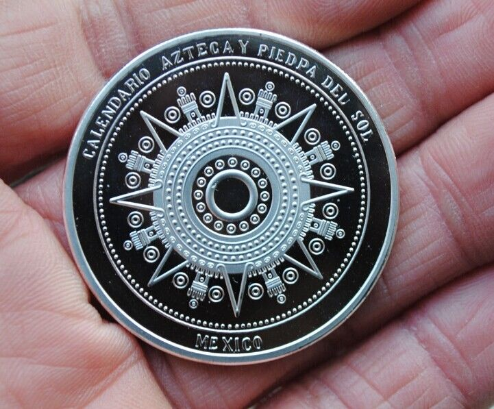 Maya Calendar Plated Coin Souvenir Mayan Aztec Badge Pin Mexico Gift Silver Color Cintage Collection