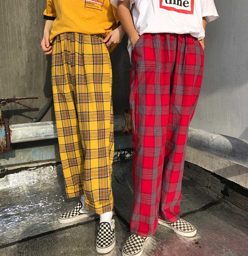 NiceMix 2019 Spring Women's Pants Korean Version Harajuku Style Loose Pants Full Length Plaid Pants Streetwear Wide Leg Pants