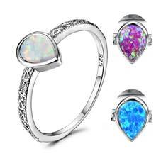 Blaike 925 Sterling Silver Filled Water Drop White/Blue/Purple Fire Opal Rings for Women Vintage Fashion Jewelry Birthstone Ring(China)