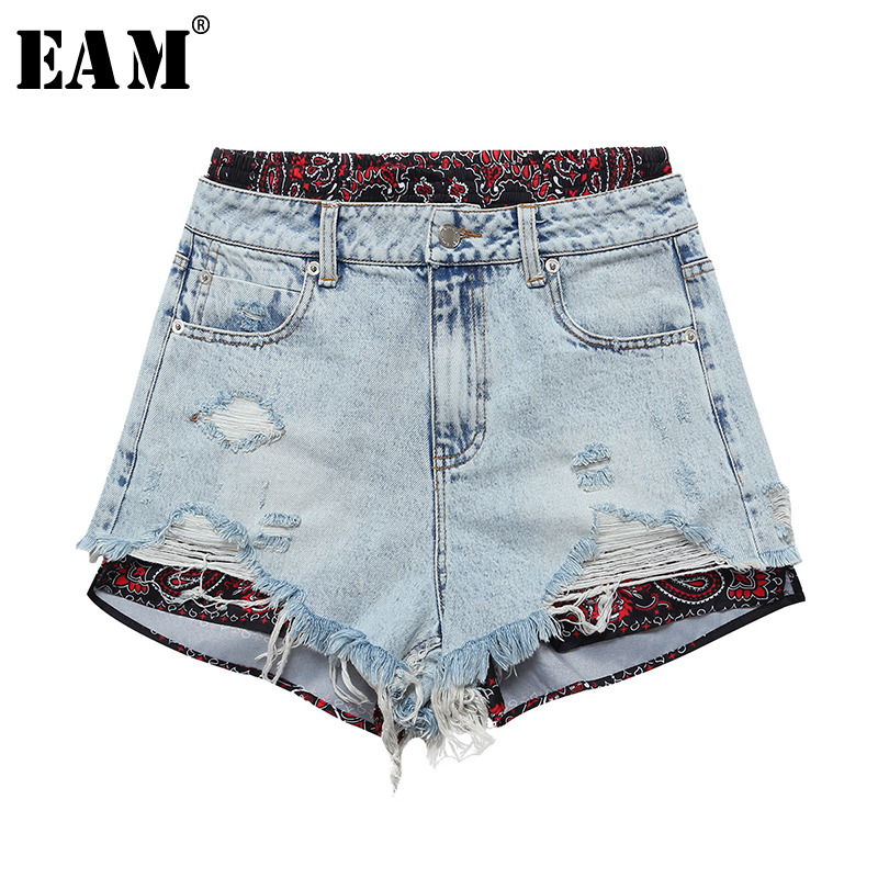 [EAM] Women Wide Pattern Printed Split Joint Denim Leg Shorts New High Waist Loose Fit Trousers Fashion Spring Summer 2020 1U858