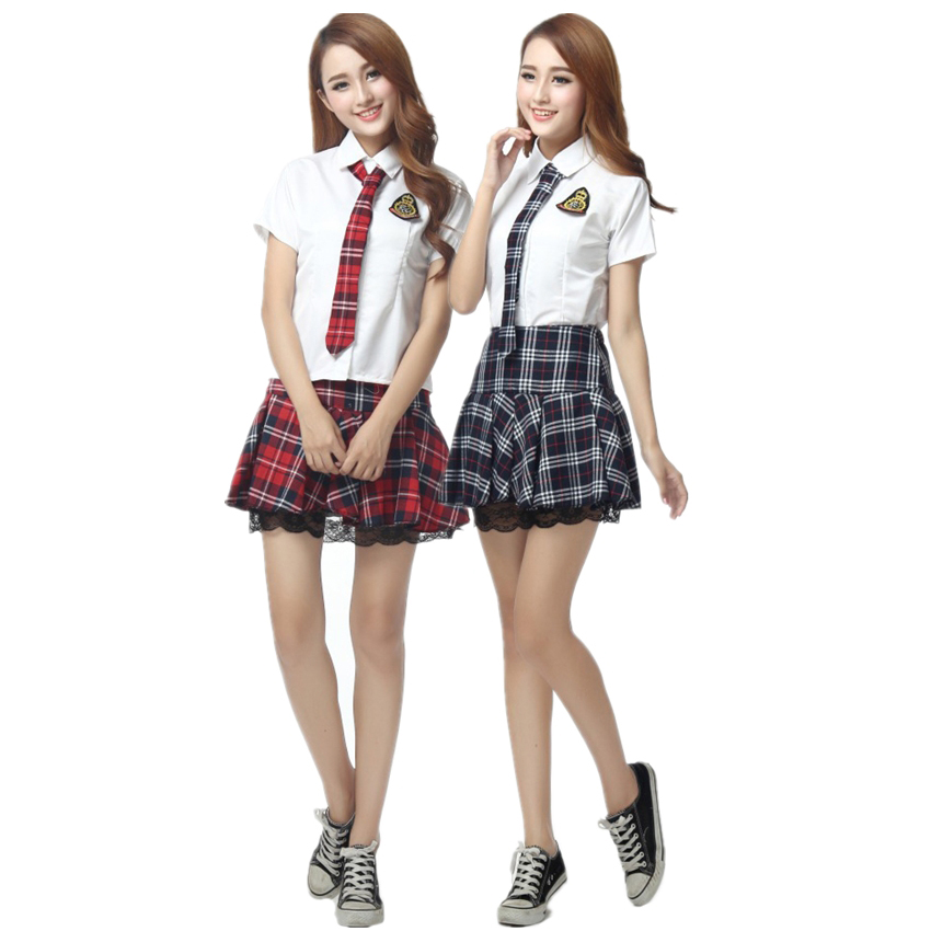 School Uniform For Girls Korean Short Sleeves Japanese Style Skirts Plaid Fancy Costume Sailor Dress For Women Cheerleader Team