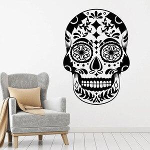 Fototapeta Terror styl czaszka Symbol meksyk wzór winylowe naklejki na okna Bar człowiek jaskinia do klubu na imprezę wystrój wnętrz mural artystyczny M782