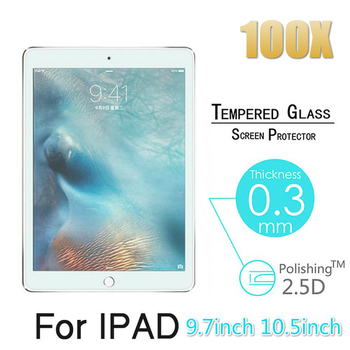 100pcs 2.5D 0.3mm 9H Tempered Glass for Apple Ipad 5 6 Air 1 2 Pro New 9.7 10.5 Mini 2 3 4 Screen Protector Protective Film