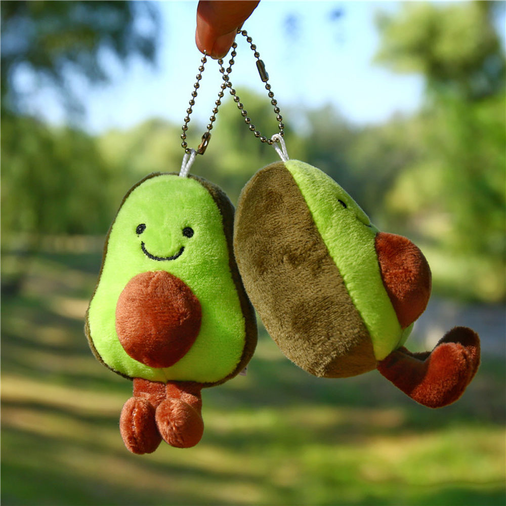 Kawaii Avocado Dolls Plush Key Chain Girls Little Pendant Creative Gifts Children's Toys Ladies Bag Pendant