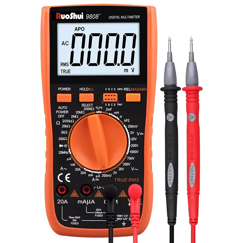 RuoShui Multimeter 9808  High Precision Digital 2000uF Capacimeter 10MHz Frequency Temperature and Inductance Measuring with LCR