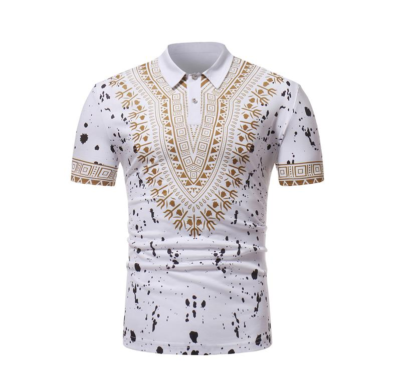 2019 New Fashion Summer Short Sleeve Casual Loose Tops African National Style Printed Male   Polo   Shirts Homme Clothes EU XXL