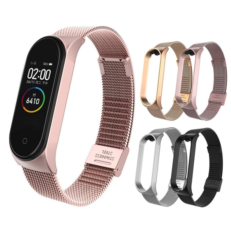 Stainless Steel Wristband Metal Strap For Xiaomi Mi Band 3 4  With Sturdy Clasp For Xiaomi Mi Band 4 3 Replacement Watch Band