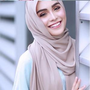 Image 1 - M2 10pcs Hot sale  plain bubble chiffon hijab scarf shawl wrap  lady headband women scarf/scarves 180*75cm