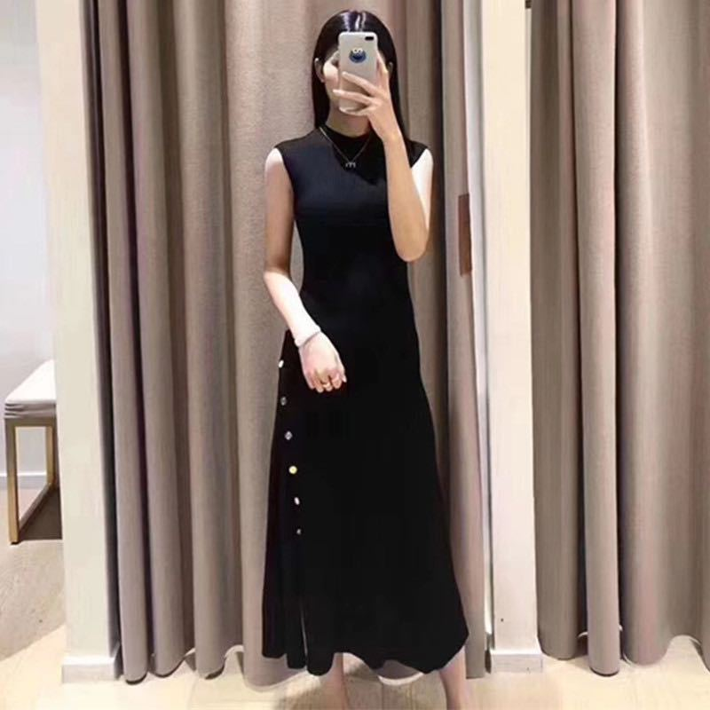 2020 Early Autumn New Metal Single Breasted Sleeveless Knitted long Dress|Dresses|   - AliExpress