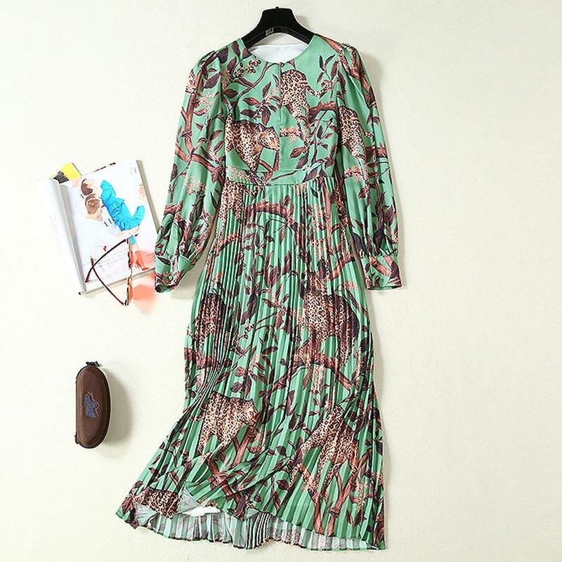 Kadın Giyim'ten Elbiseler'de Uzun elbise Bohe Plaj Yüksek Kaliteli Sonbahar Yeni Kadın Moda İş Parti Vintage Zarif Baskı Uzun Kollu şifon elbiseler'da  Grup 3