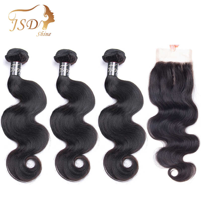 JSDShine גוף גל שיער טבעי חבילות עם סגירה ברזילאי שיער Weave חבילות עם סגירת תחרה צבע טבעי ללא רמי שיער