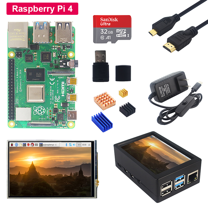 Raspberry Pi 4 Model B + 3.5 Inch Touch Screen + Acrylic Case + Power Supply + SD Card + Heat Sink For Raspberry Pi 4B