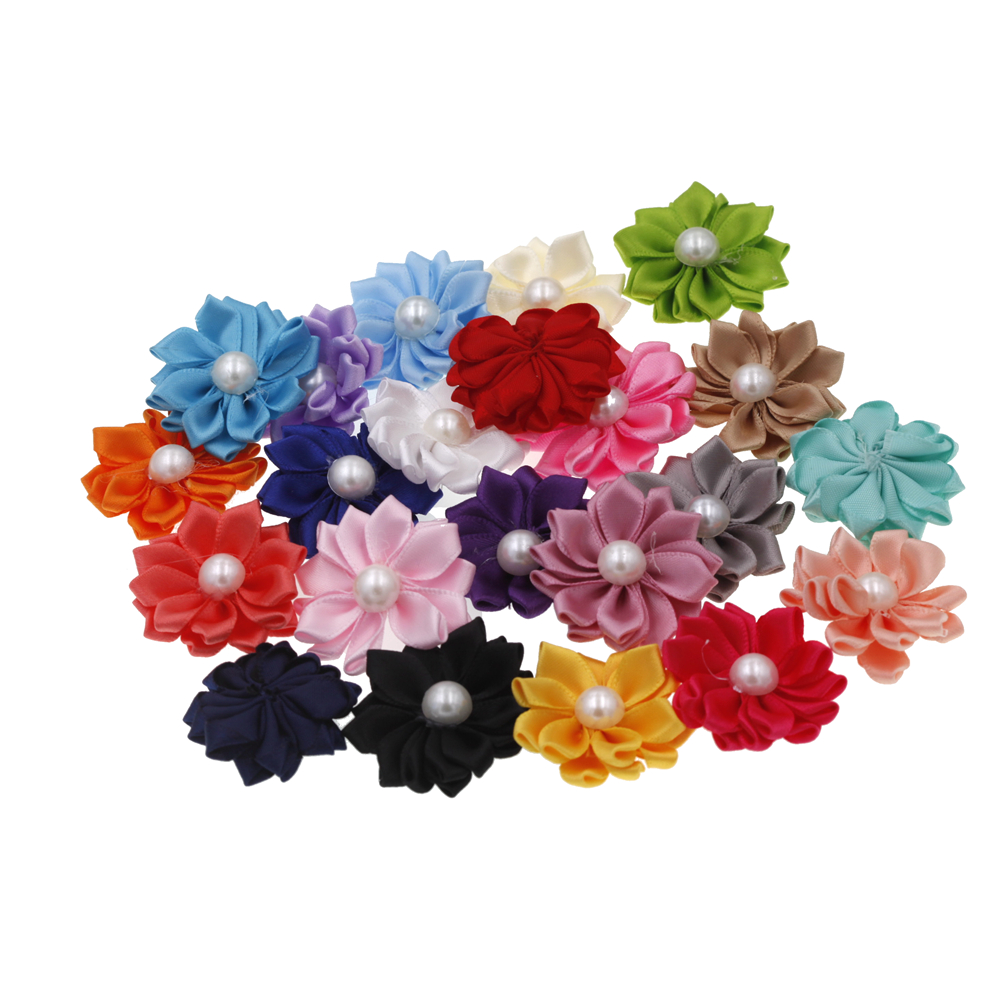 3.8cm Baby Mini DIY Flowers Accessory Satin Ribbon Pearl Without Headband No Clips Christmas Wedding Hair Accessories 20pcs/lot