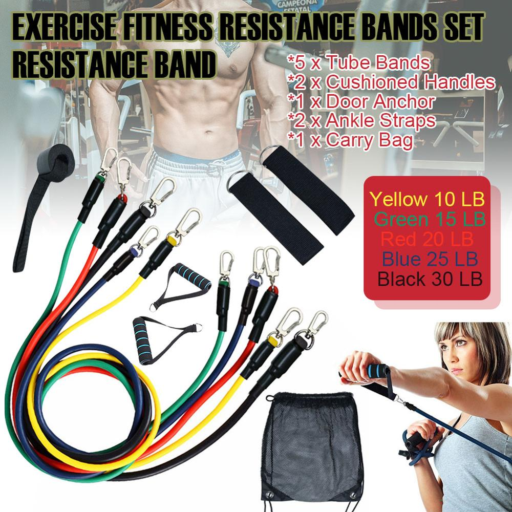 11 Pcs/set Pull Rope Elastic Band Fitness Exercise Resistive Tape Latex Tube Pedal Exercise Body Workout Yoga Fitness Equipment